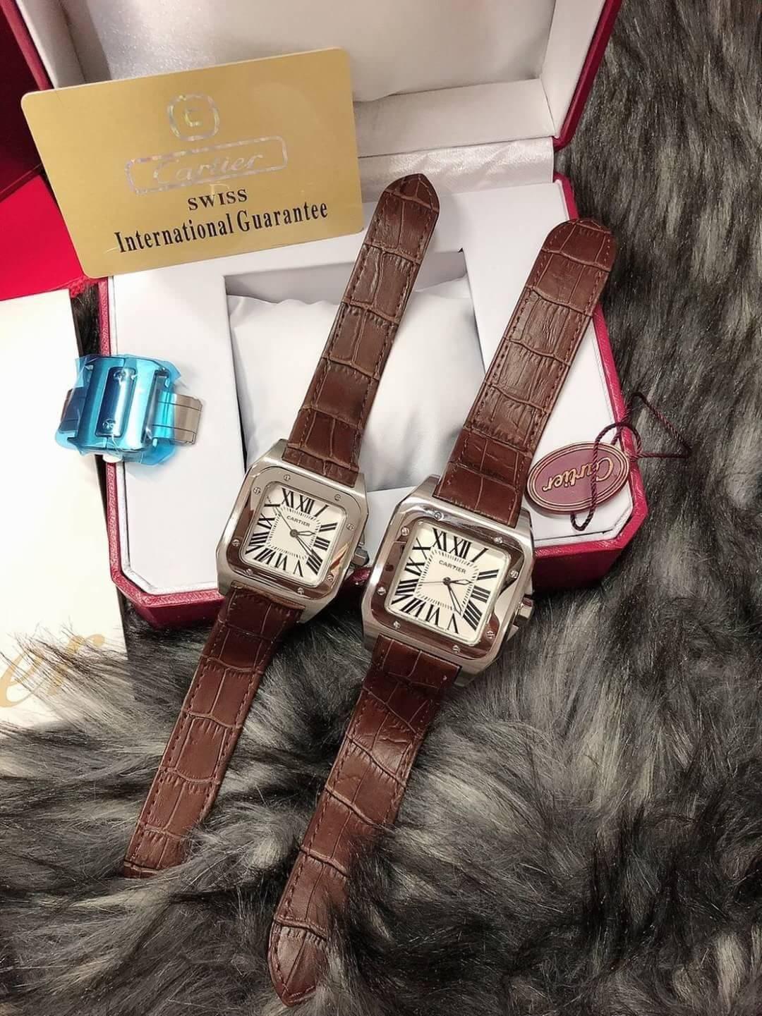 Cartier Santos White Dial ก๊อปหน้าปัดขาว, สายหนังสีน้ำตาล