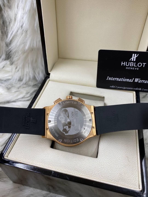 Hublot Classic Fusion Rose Gold 42 mm Black Dial, ก๊อป หน้าปัดดดำ, สายยาง