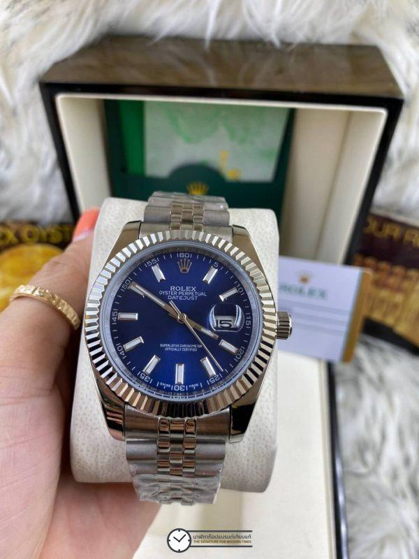 Rolex datejust Blue Dial Jubilee 40mm, โรเล็กซ์เดทจัสท์ก๊อป สายจูบิลี่ หน้าปัดน้ำเงิน