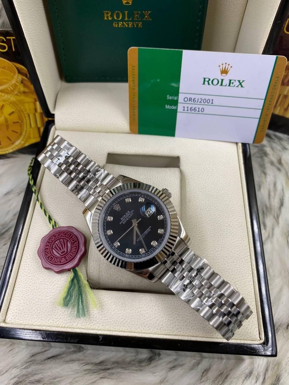 Rolex datejust Black Dial 40mm, โรเล็กซ์เดทจัสท์ก๊อป สายจูบิลี่ หน้าปัดดำ