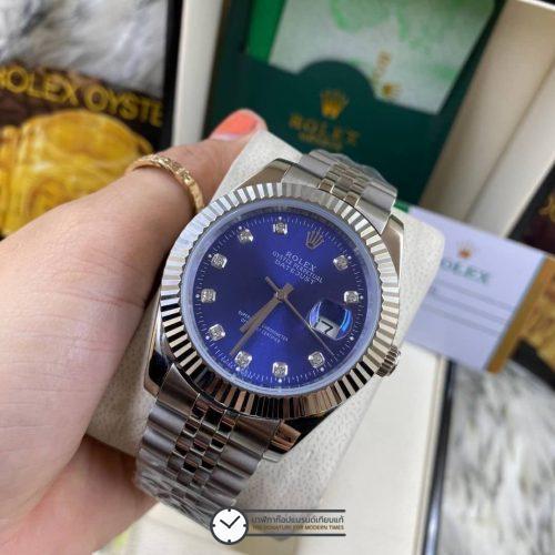 Rolex datejust Blue Dial 40mm, โรเล็กซ์เดทจัสท์ก๊อป สายจูบิลี่ หน้าปัดน้ำเงิน