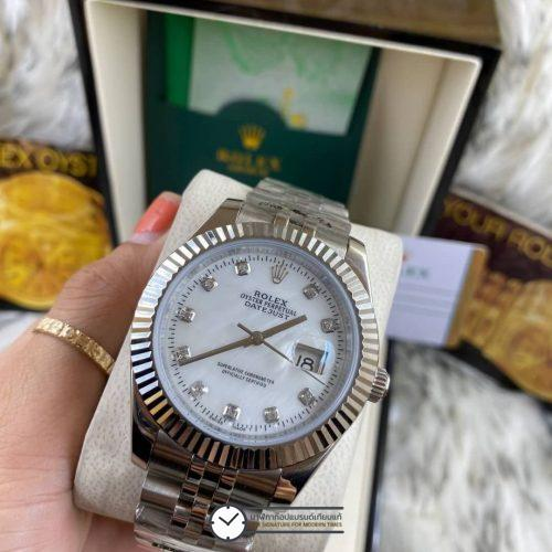 Rolex datejust White Dial 40mm Jubilee, โรเล็กซ์เดทจัสท์ก๊อป สายจูบิลี่ หน้าปัดขาว