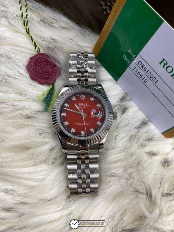 Rolex datejust Red Dial 40mm Jubilee, โรเล็กซ์เดทจัสท์ก๊อป สายจูบิลี่ หน้าปัดแดง