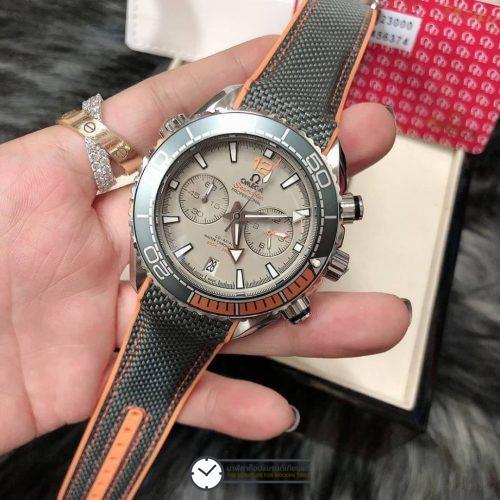 Omega Seamaster Planet Ocean 600M Gray Dial nylon wrist band, สายยางลายผ้า, หน้าปัดเทา