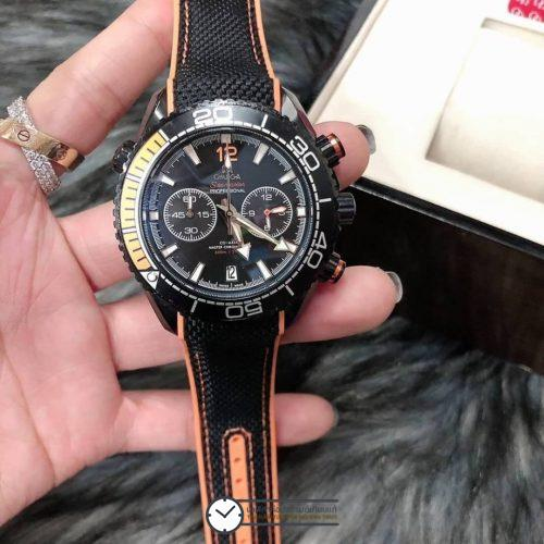 Omega Seamaster Planet Ocean 600M Nylon Wrist Band Black Dial, ก๊อปสายยาง ลายผ้า