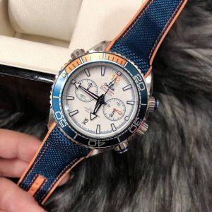 Omega Seamaster Planet Ocean 600M White Dial nylon wrist band, ก๊อปสายยางลายผ้า