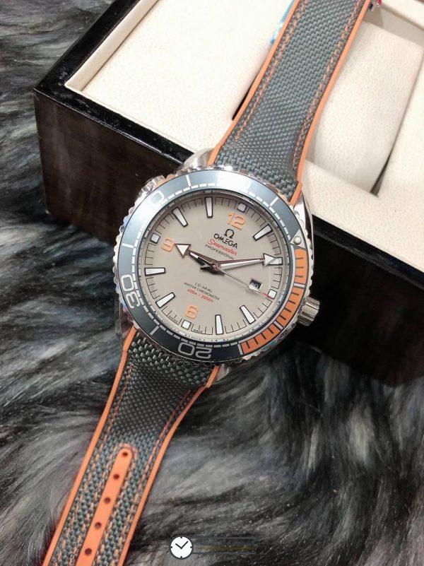 Omega Seamaster Planet Ocean 600M Nylon Wrist Band Gray Dial, ก๊อปสายยางลายผ้า