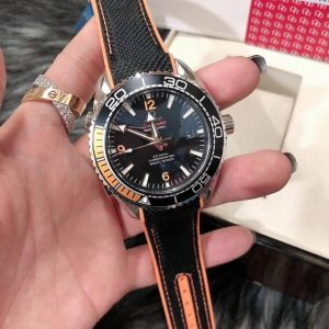 Omega Seamaster Planet Ocean 600M Nylon Wrist Band Black Dial, ก๊อปสายยาง, หน้าปัดดำ