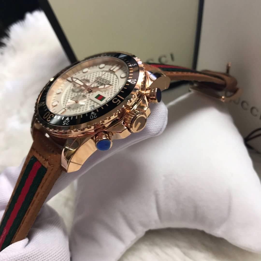 นาฬิกา Gucci Sport Rose Gold White Dial Men's Watch ก๊อปผู้ชาย