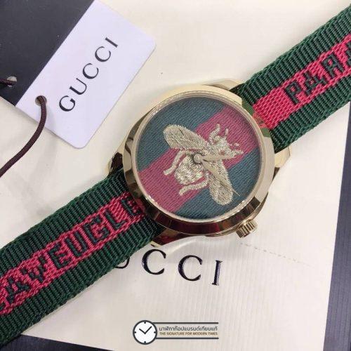 Gucci Ladies Watch Bee Dial Nylon Strap 36mm, ก๊อปหน้าปัดผึ้ง สายผ้า
