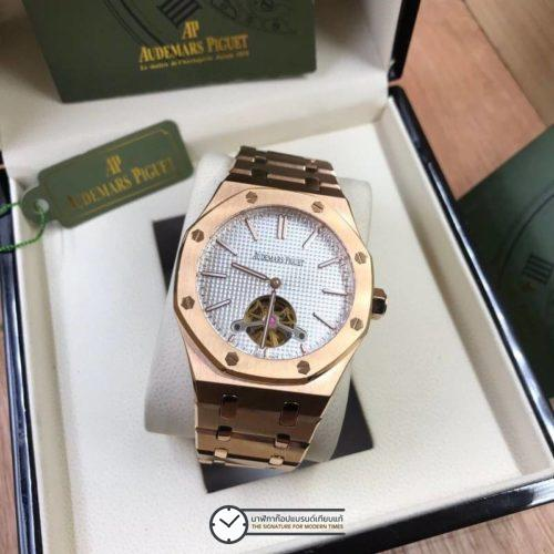 AP​ AUDEMARS PİGUET, ROYAL OAK TOURBILLON, ROSE GOLD​, WHITE DIAL, ก๊อป, หน้าปัดขาว