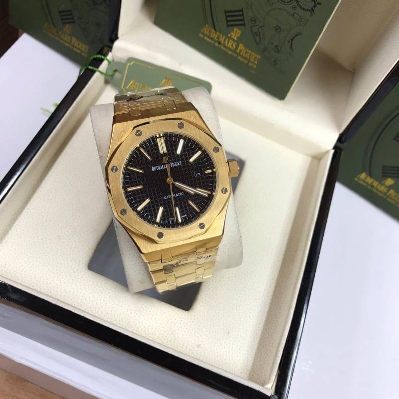 AP​, Audemars Piguet​ Royal Oak, Yellow Gold, Black Dial