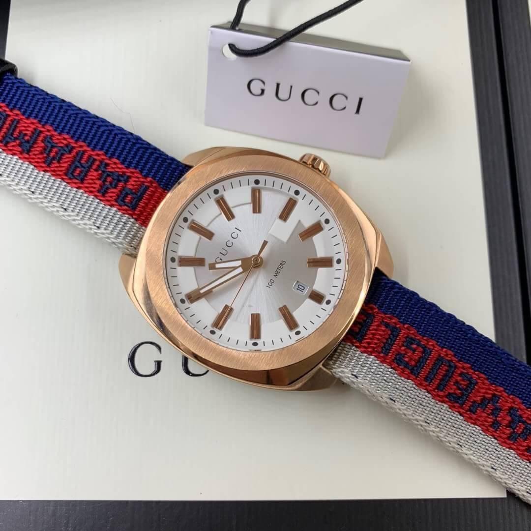 Gucci 100meter rose gold White Dial nylon Strap GG2570, สายผ้า, ก๊อปผู้ชาย,