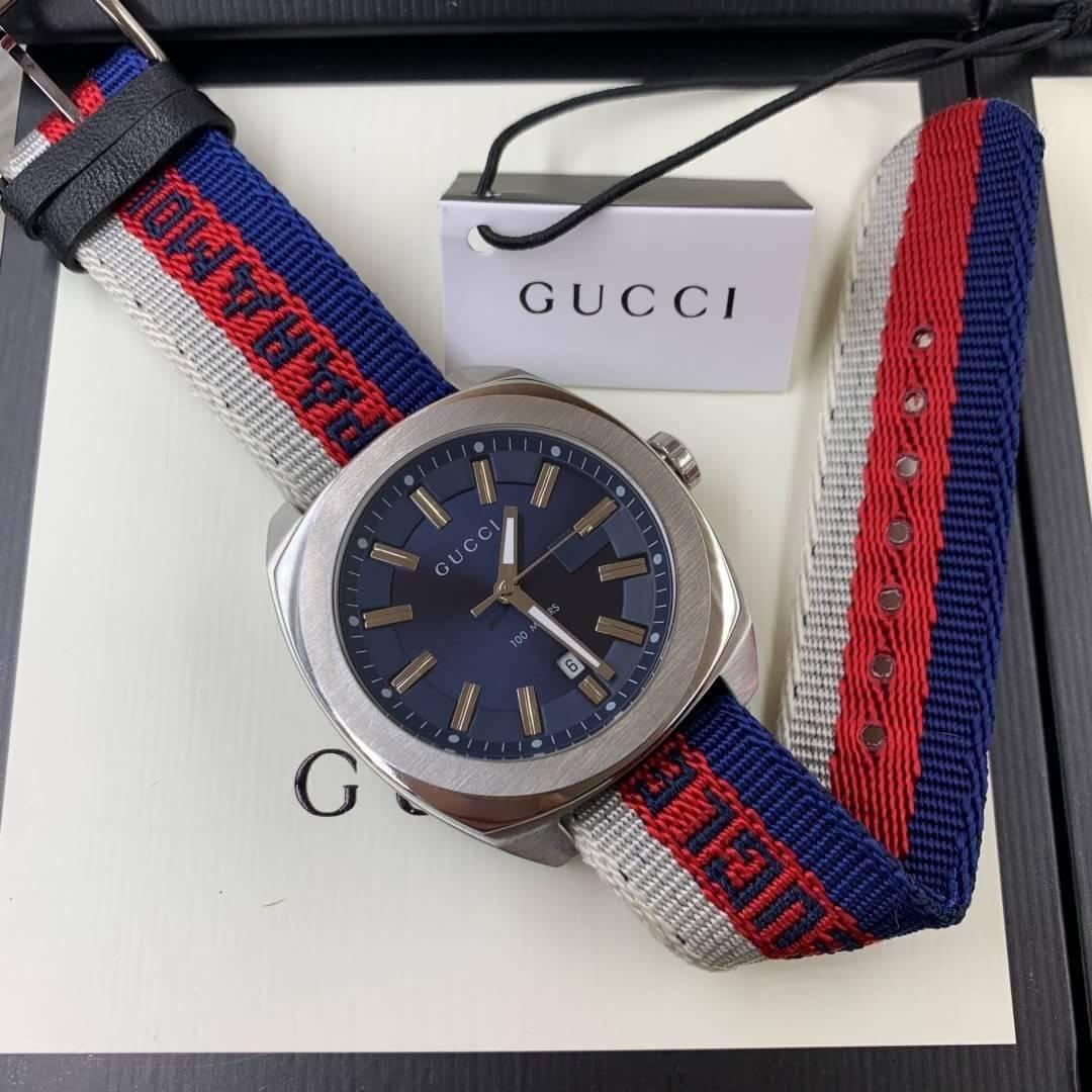 Gucci 100meter men's Watch Blue Dial nylon Strap(GG2570)