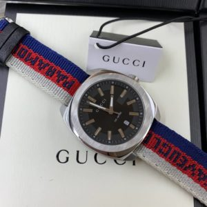 นาฬิกา Gucci 100meter men's Watch Black Dial nylon Strap(GG2570) ก๊อปสายผ้า