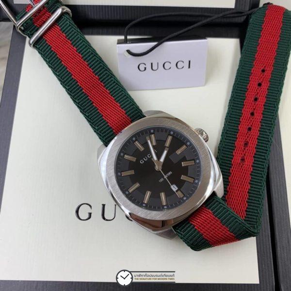 นาฬิกา Gucci 100Meter Men's Watch Black Dial Nylon Strap(GG2570), ก้อปสายผ้า