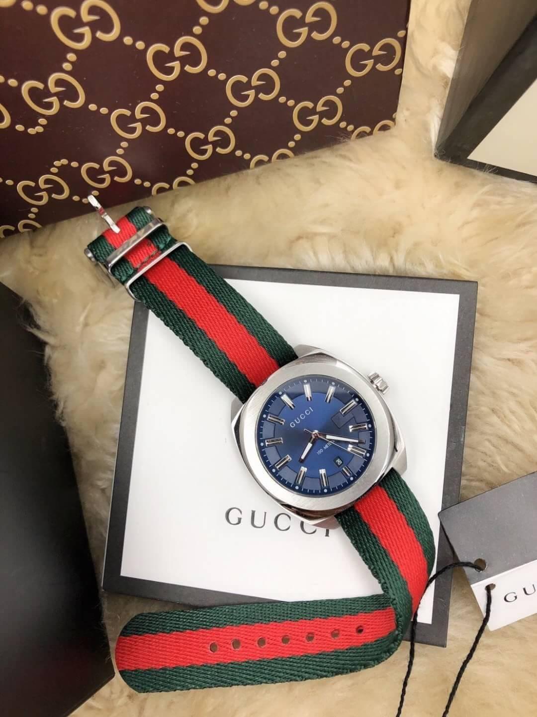 นาฬิกา Gucci 100meter GG2570, ก๊อปสายผ้า ,เกรดA, หน้าน้ำเงิน