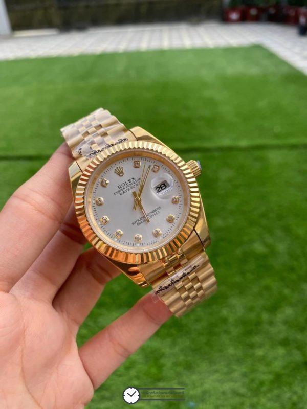 Rolex Datejust Yellow Gold Diamond White Dial 40mm Automatic Watch, โรเล็กซ์เดสจัส เรือนทองผู้ชาย ก๊อป หน้าปัดขาว สายจูบีลี่