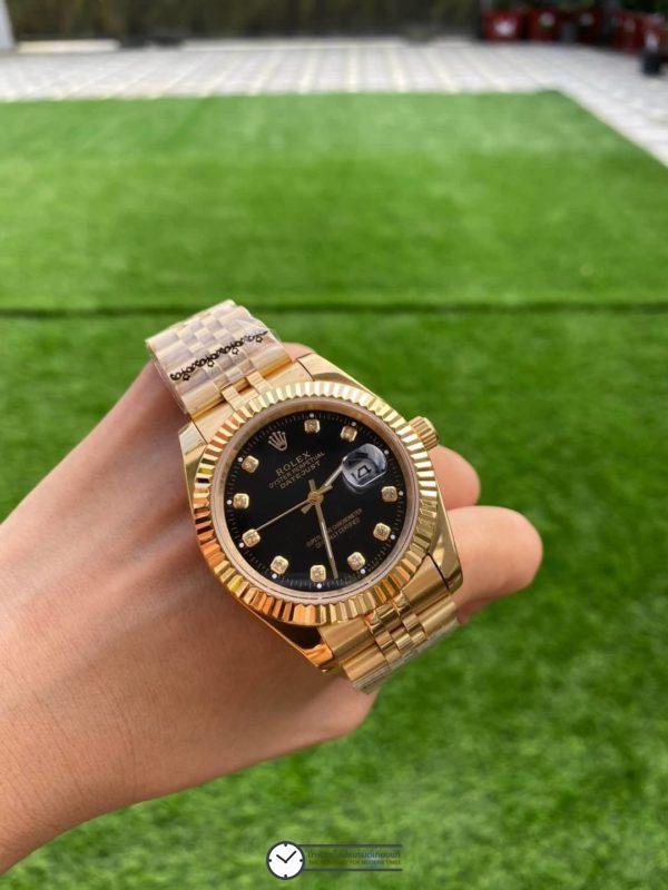 Rolex Datejust Yellow Gold Diamond Black Dial 40mm Automatic Watch, โรเล็กซ์เดสจัส เรือนทองผู้ชาย ก๊อป หน้าปัดดำ สายจูบีลี่