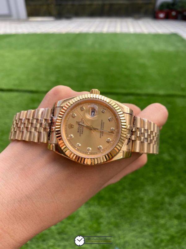 Rolex Datejust Yellow Gold, โรเล็กซ์เดสจัส เรือนทองผู้ชาย ก๊อป หน้าปัดทอง สายจูบีลี่ Diamond Gold Dial 40mm Automatic Watch,