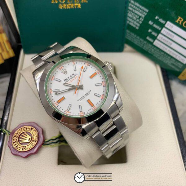 Rolex Milgauss 40mm White Dial Automatic Men's watch, โรเล็กซ์มิลกลาสก๊อป หน้าปัดขาว