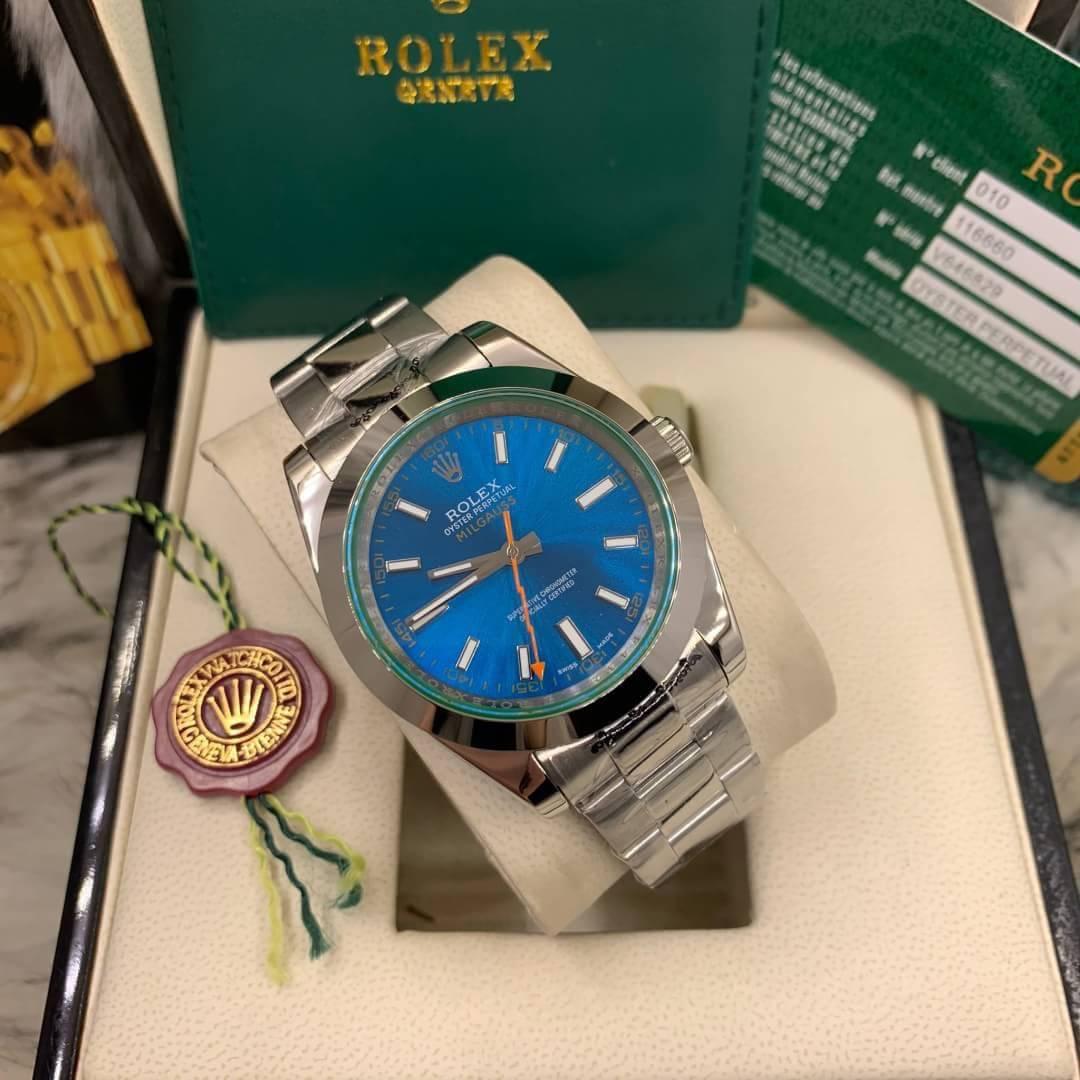 Rolex Milgauss 40mm Blue Dial Automatic Men's watch, โรเล็กซ์มิลกลาสก๊อป หน้าปัดน้ำเงิน