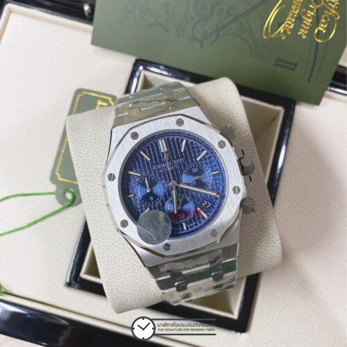AUDEMARS PIGUET ROYAL OAK CHRONOGRAPH BLUE DIAL BRACELET WATCH 43MM, ก๊อป