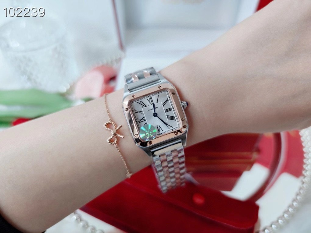 Cartier Santos Two-Tone Rose Gold White Dial 31mm