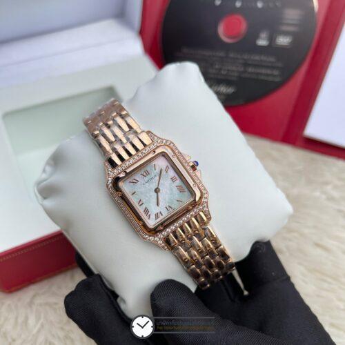 Cartier Santos Diamond Rose Gold Lady White Dial 28mm, ก๊อปโรสโกลด์ หน้าปัดขาว