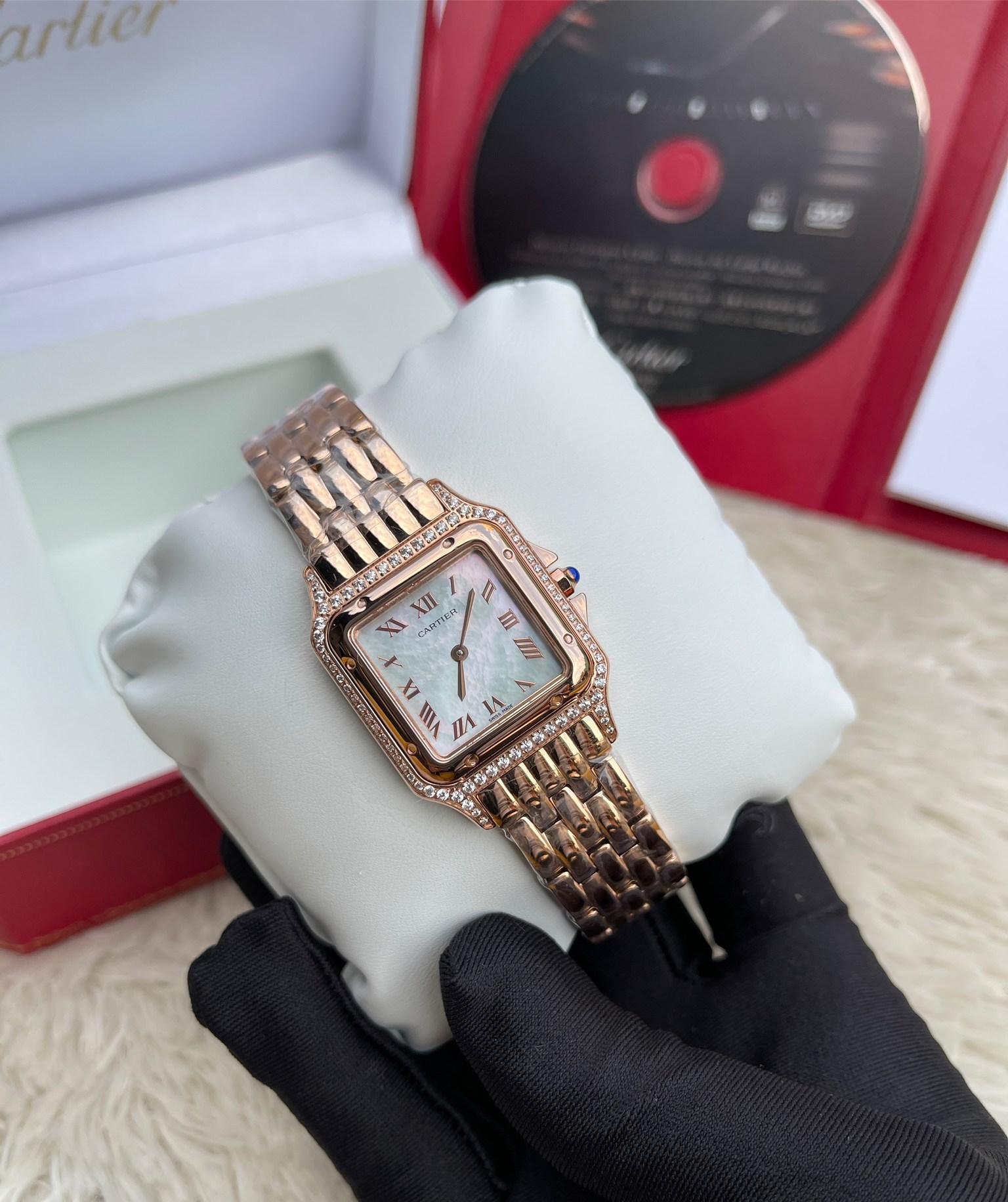 Cartier Santos Diamond Rose Gold Lady White Dial 28mm