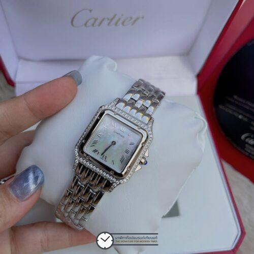 Cartier Santos Diamond Lady White Dial 28mm, ก๊อปหน้าปัดขาว