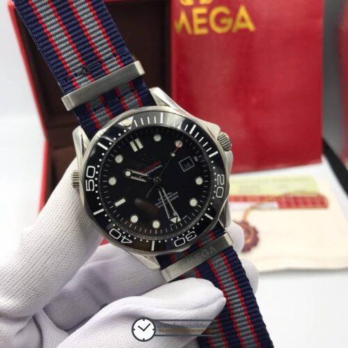 Omega Seamaster Diver 300 m Nylon Strap Co-Axial Black Dial, สายผ้า, ก๊อปหน้าปัดดำ