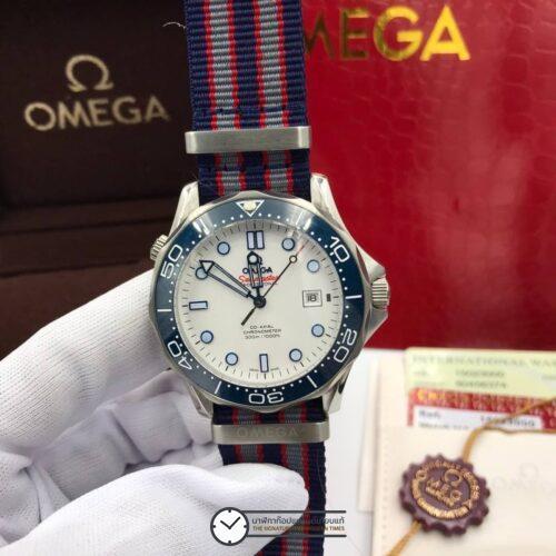 Omega Seamaster Diver 300M White Dial Nylon Strap Men's Watch , ก๊อปหน้าปัดขาว, สายผ้า