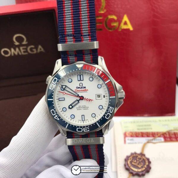 Omega Seamaster Diver 300M White Dial Nylon Strap Limited Edition Men's Watch 212.32.41.20.04.001, ก๊อปหน้าปัดขาว, สายผ้า
