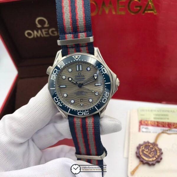 Omega Seamaster Diver 300 M Co-Axial Nylon Strap Grey Dial Men's Watch, สายผ้า, ก๊อปหน้าปัดเทา