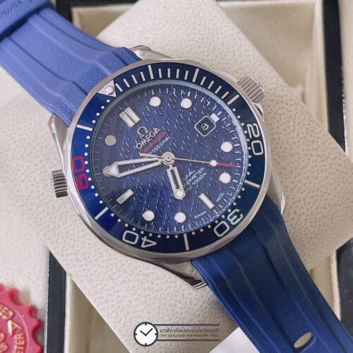 Omega Seamaster 300M James Bond 50th Anniversary Blue Dial Rubber Strap, ก๊อปสายยาง, หน้าปัดน้ำเงิน