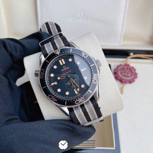 Omega Seamaster Diver 300m Co-Axial 007 Edition Black Dial New 2020 Nylon Strap, ก๊อปสายผ้า, หน้าปัดดำ