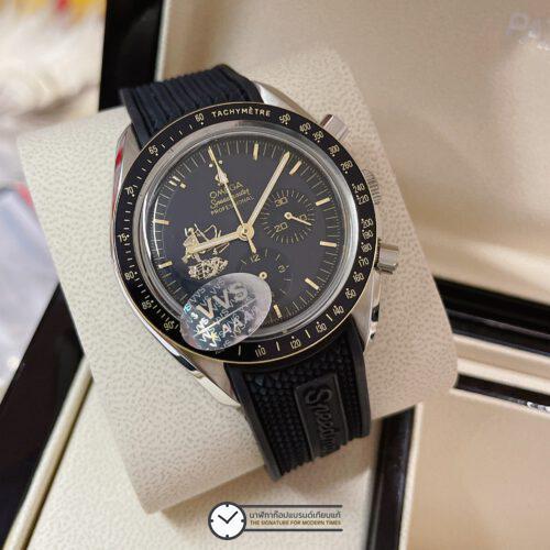 "Omega Speedmaster ""Apollo 11 50th Anniversary"" Limited Series 42 mm Black Dial Rubber Strap, ก๊อปหน้าปัดดำ, สายยาง"