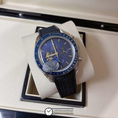 "Omega Speedmaster ""Apollo 11 50th Anniversary"" Limited Series 42 mm Blue Dial, ก๊อปหน้าปัดน้ำเงิน, สายยาง"