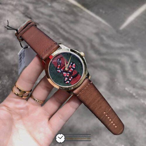 Gucci Le Marche Des Merveilles Snake Dial Watch YA1264012, ก๊อปหน้าปัดงู สายหนัง