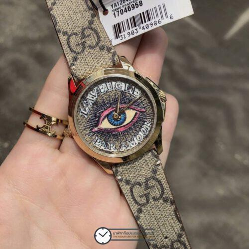 Gucci G-Timeless Beige Supreme Canvas with Eye Motif Dial Watch YA1264022, ก๊อปหน้าปัดดวงตา