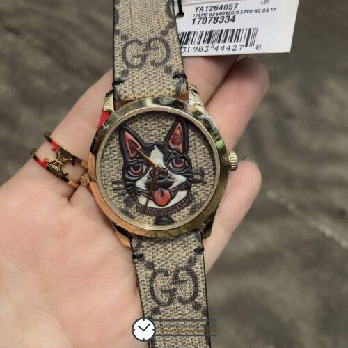 Gucci G-Timeless Men's Fashion Watch Stylish Cartoon Dog Floral Quartz Watch YA1264057, ก๊อปหน้าปัดหมา